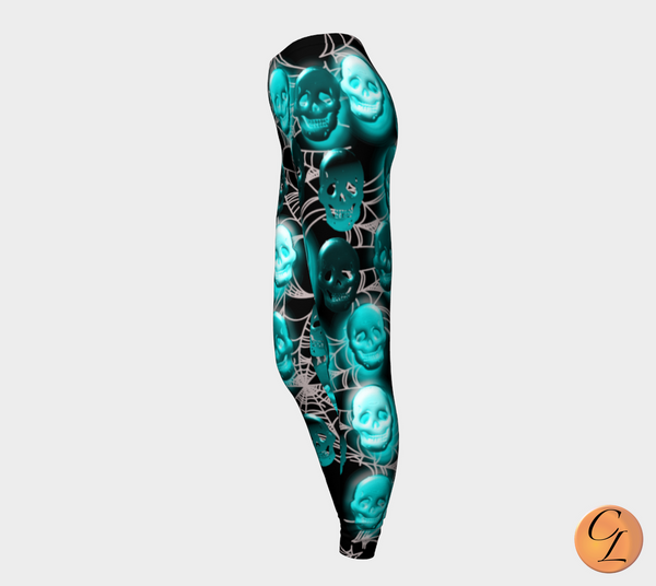 Skulls in the Web Blue Leggings-Leggings-Chloe Lambertin
