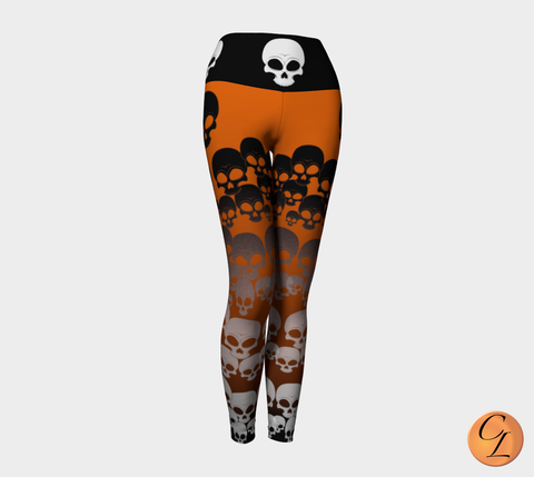 Skulls Yoga Leggings-Yoga Leggings-Chloe Lambertin