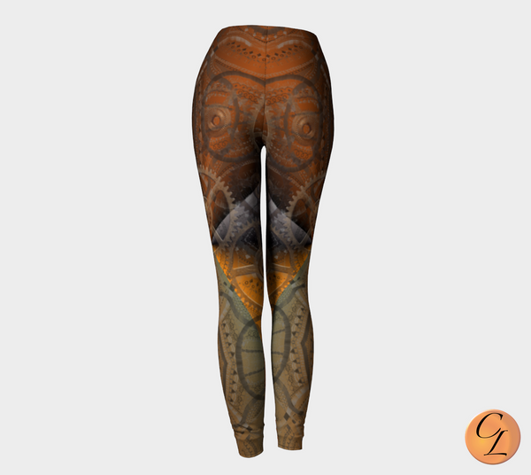 Steampunk Gear Leggings-Leggings-Chloe Lambertin