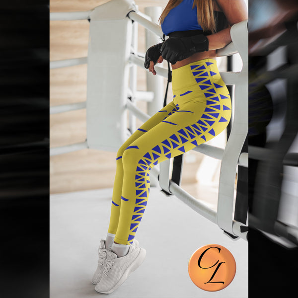 Stunning Gold and Blue Leggings-Leggings-Chloe Lambertin