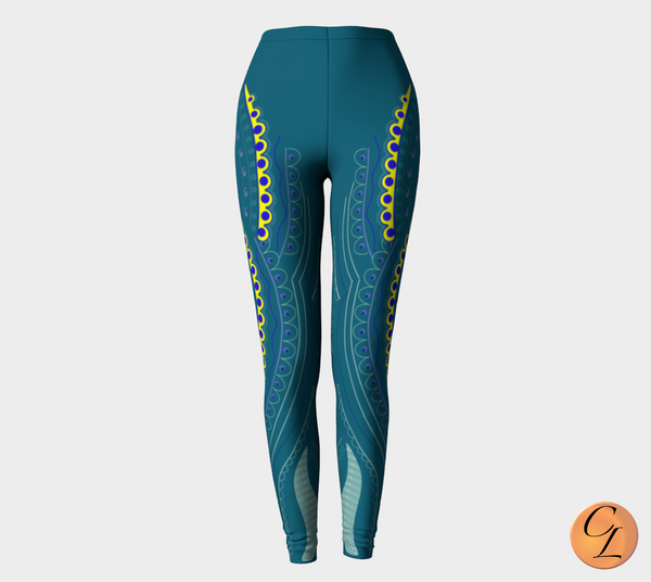 Teal Vines Leggings-Leggings-Chloe Lambertin
