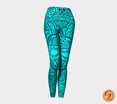 Turquoise Tribal Leggings-Leggings-Chloe Lambertin