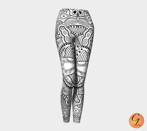 White Tribal Leggings-Leggings-Chloe Lambertin