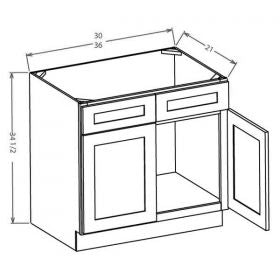 Shaker White Vanity Sink Bases-Double Door Double Drawer Front