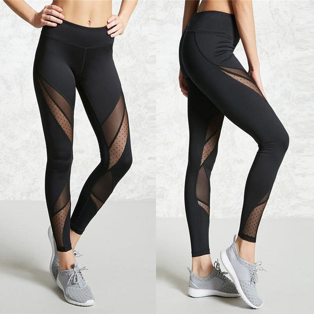 Black Patchwork Mesh Fitness Leggings - Fitnessster