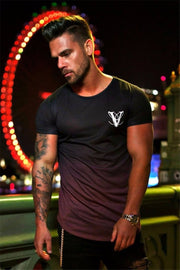 Gradient colour 3D Printed Quick Dry Compression Men's T-Shirts - Fitnessster