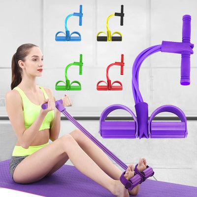 Pedal Resistance Band - 4 Elastic Pull Rope - Fitnessster