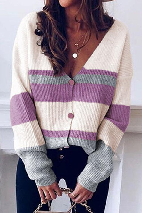 Puradress V-neck Button Striped Sweater Cardigan