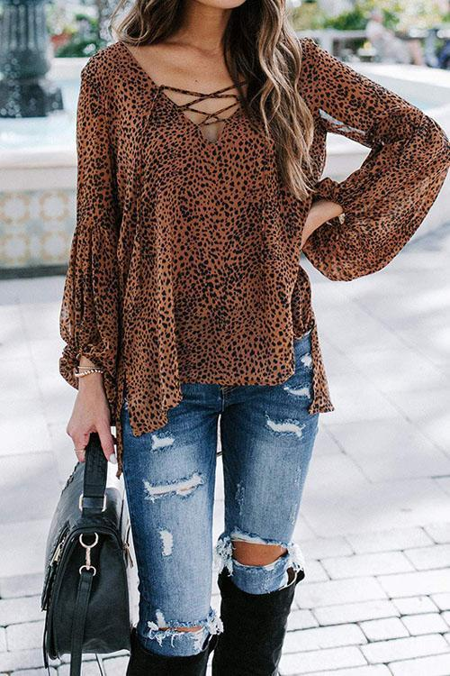 Puradress Leopard Cross V Blouse Top