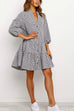 Puradress Fashion Lapel Puff Sleeve Plaid Dress
