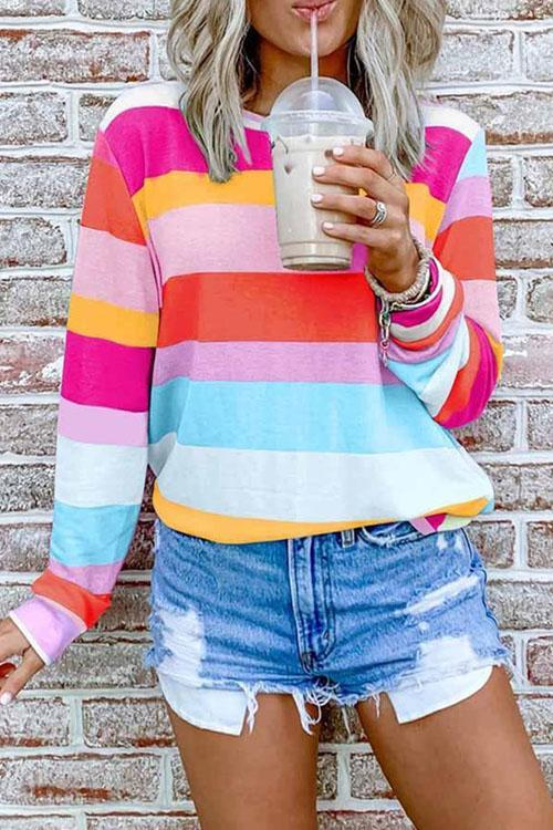 Puradress Leisure Time Colorful Striped Top