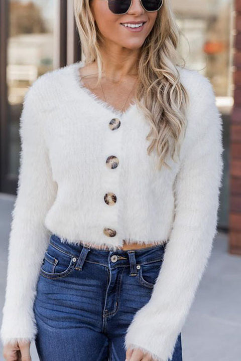 Puradress Knitted White V-Neck Single Breasted Sweater