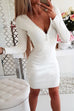 Puradress Deep V Neck Lace Back Wrap Dress