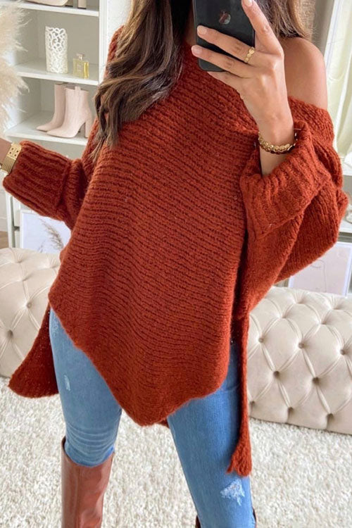 Puradress Solid Off Shoulder Split Long Sweater