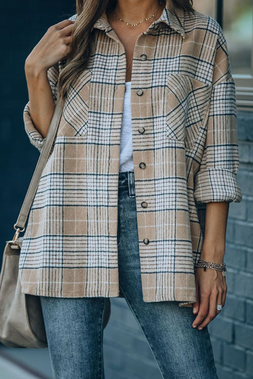 Puradress Vintage Plaid Lapel Blouse Coat Top