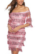 Puradress Shakira Latin Boat Neck Tassels Sequin Party Dress