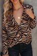 Puradress Tiger Pattern Casual Loose Blouse Shirt