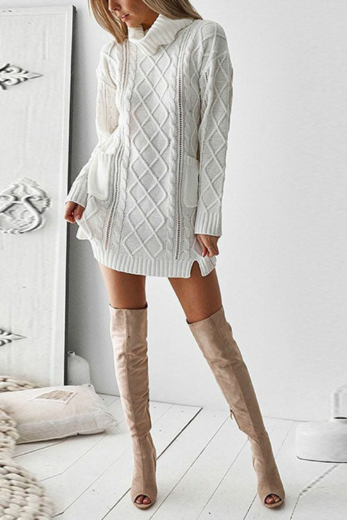 Puradress High Collar Knitted Hemp Twist Sweater Dress