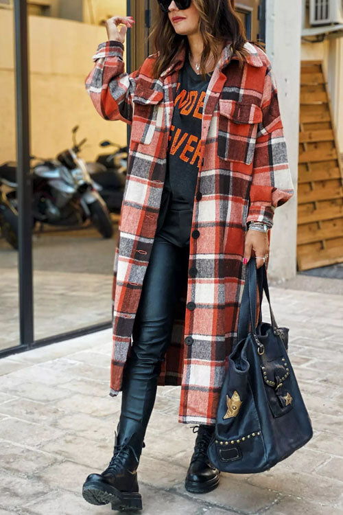 Puradress Classic Plaid Lapel Long Coat