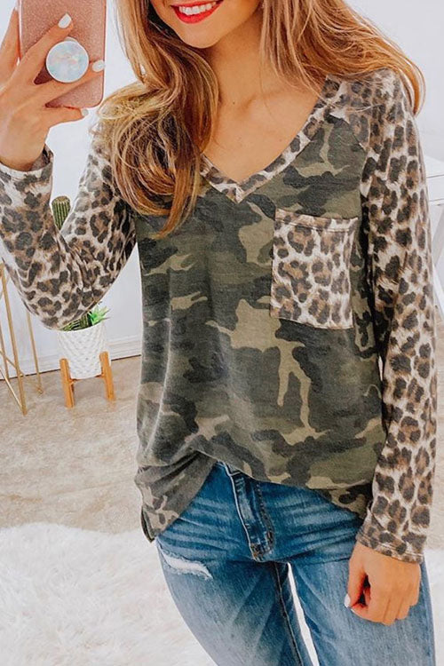 Puradress Leopard Pockets Camo Simple Tops