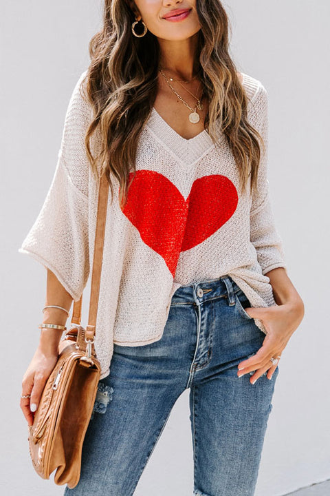 Puradress Valentine's Day V Neck Casual Sweater