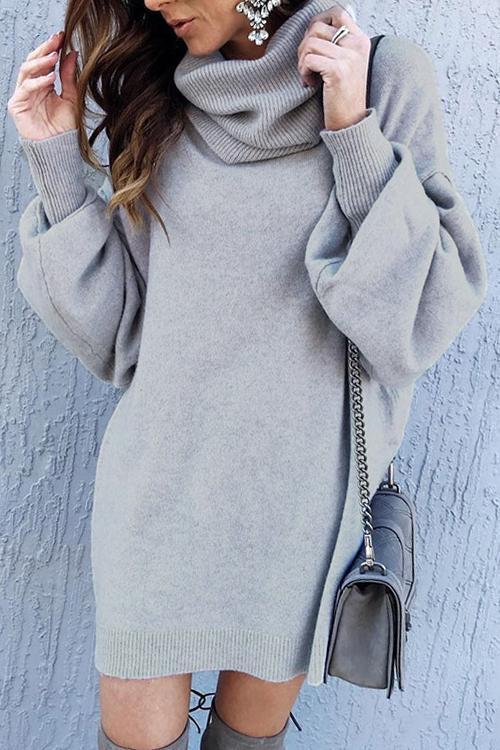 Puradress Long Sleeves Solid Grey Sweater A-Line Mini Dress