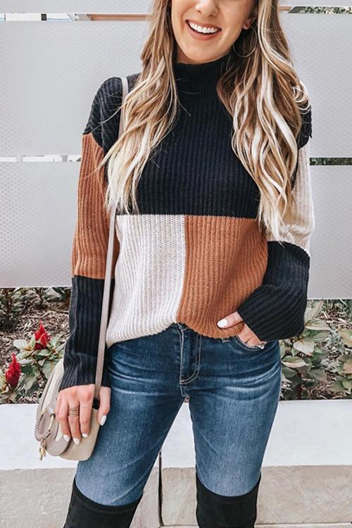 Puradress Chic Splice Striped Turtleneck  Sweaters