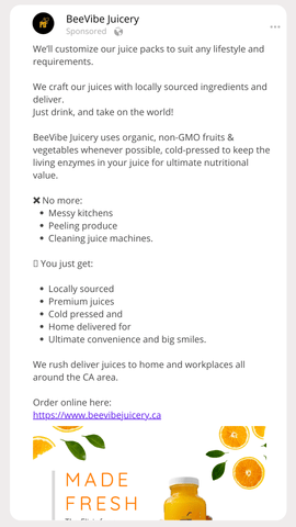 Longer form ad copy for a facebook ad