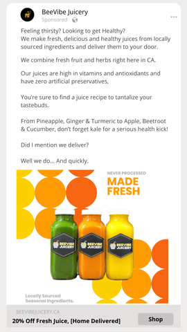 The image options custom created for the beevibe juicery campaigns