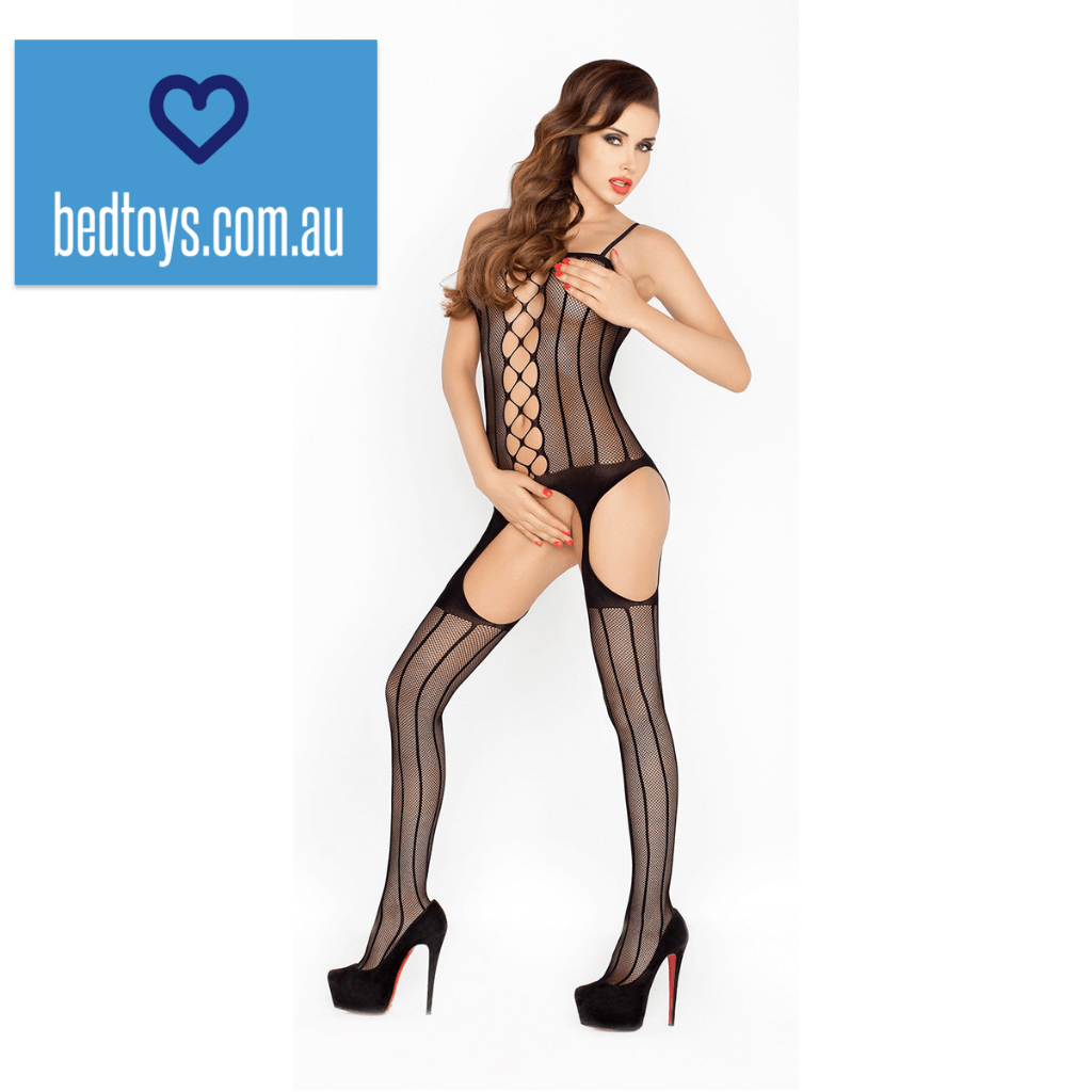 Passion crotchless fishnet body stocking - one size fits most