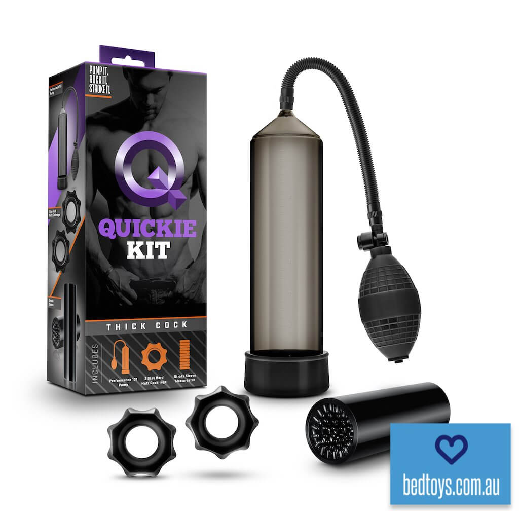 Quickie Kit Thick Cock penis pump - with cock rings & BONUS masturbator sleeve