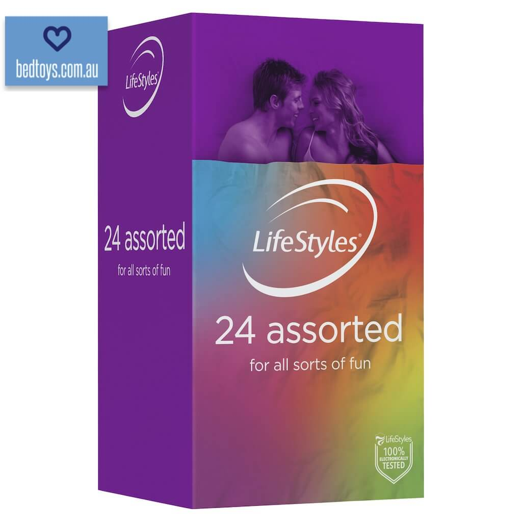 24 Assorted LifeStyles condoms - studded/ribbed