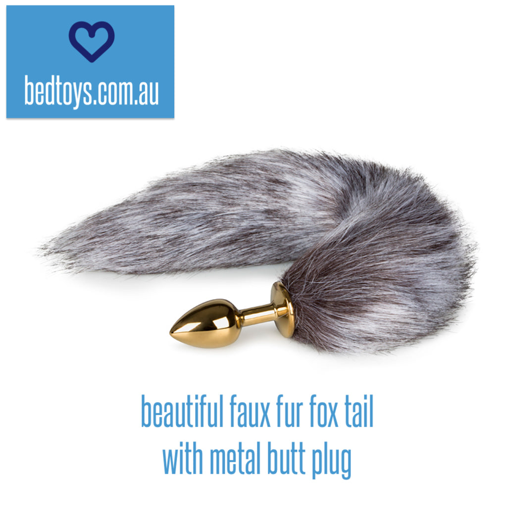 Easy Toys 42cm faux fur fox tail with metal butt plug