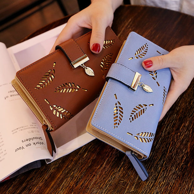 Hollow Leaves Wallet Leather Purse