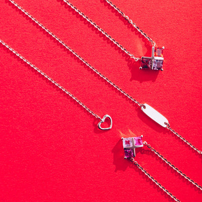CROSS MY HEART | Natural Purple Sapphire 18kt Gold Necklace