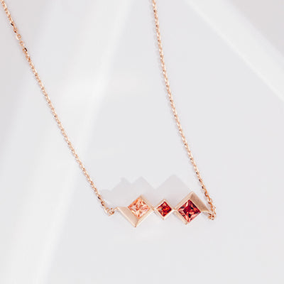 Utopia | Natural Coloured Sapphire 18kt Rose Gold Trio Necklace