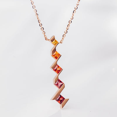 Utopia | Natural Coloured Sapphire 18kt Rose Gold Sunrise Gradual Necklace