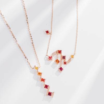 Utopia | Natural Coloured Sapphire 18kt Rose Gold Sunrise Necklace