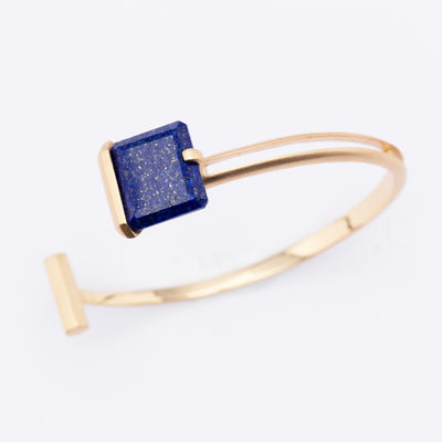 Orbit | Natural Lapis Lazuli 925 Silver 18K Gold Plated Cuff Bangle