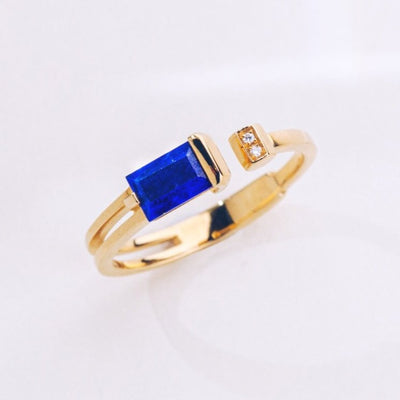 Hidden Glory | Natural Lapis Lazuli & Diamond 18kt Gold Ring