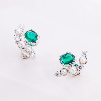 Universe | Natural Emerald, Tiny Pearl & Diamond 18kt White Gold Earrings