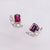 Universe | Natural Garnet, Tiny Pearl & Diamond 18kt White & Rose Gold Earrings