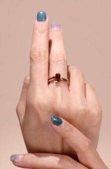 Hidden Glory | Natural Purplish-Red Tourmaline & Diamond 18kt Gold Ring
