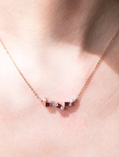 Universe | Natural Garnet, Tiny Pearl & Diamond 18kt White & Rose Gold Necklace