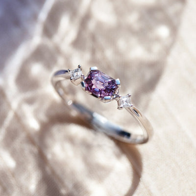 ROYAL | Natural Purplish Pink Spinel & Diamond 18kt White Gold Ring