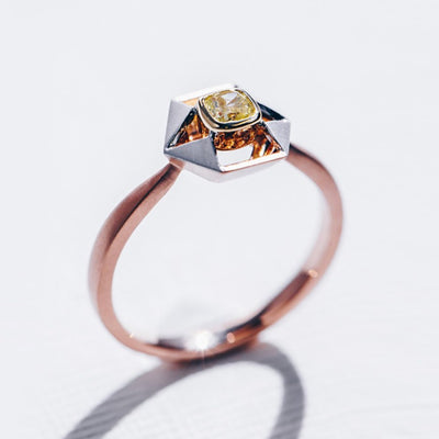 Wrap Me In Love | Natural Yellow Diamond 18kt Tri Gold Ring
