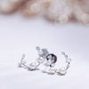 DEW | Natural Diamond & Tiny Pearl 18kt Half-way Earrings