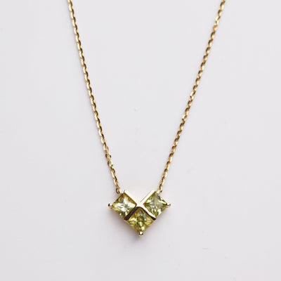 CROSS MY HEART | Natural Green Sapphire 18kt Gold Necklace