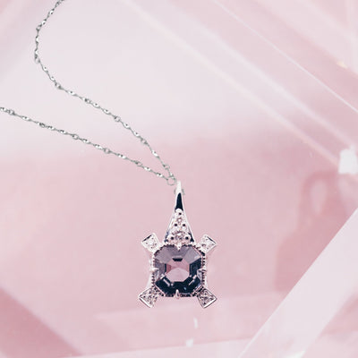ROYAL | Natural Spinel & Diamond 18kt White Gold Necklace