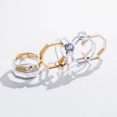 Acropolis | Natural White Sapphire 925 Silver 18K Gold Plated Two-in-one Ring Set